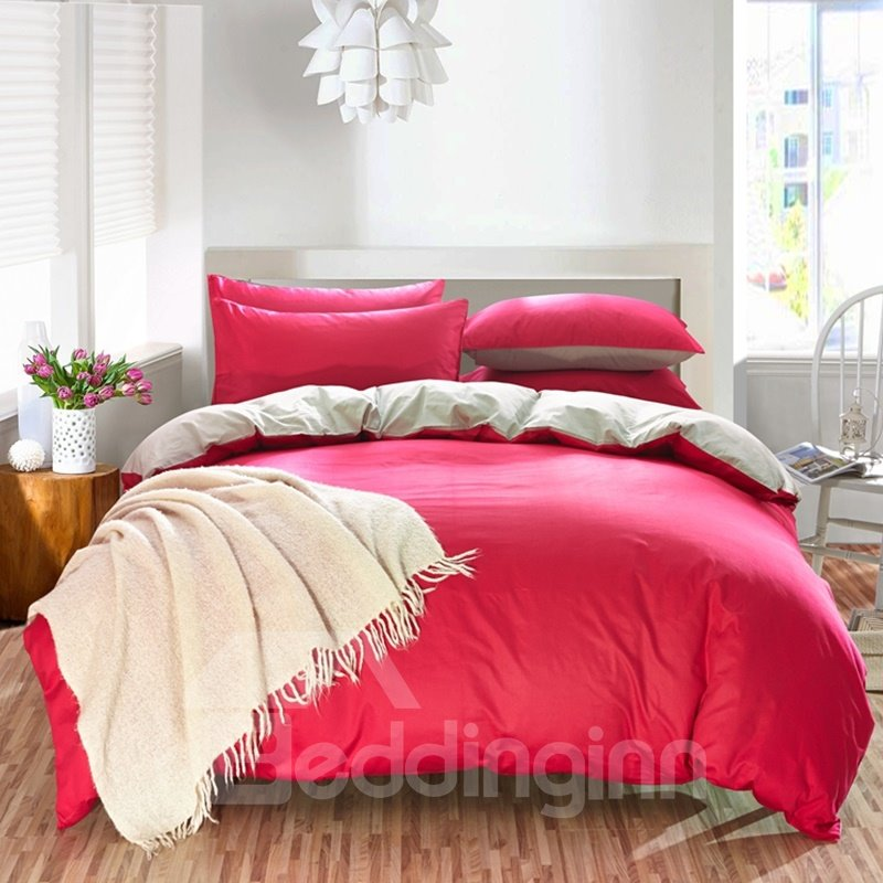 Solid Red and Gray Color Blocking Cotton 4-Piece Bedding Sets/Duvet Cover
