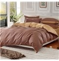 Solid Coffee and Gold Color Blocking Cotton 4-Piece Bedding Sets/Duvet Cover
