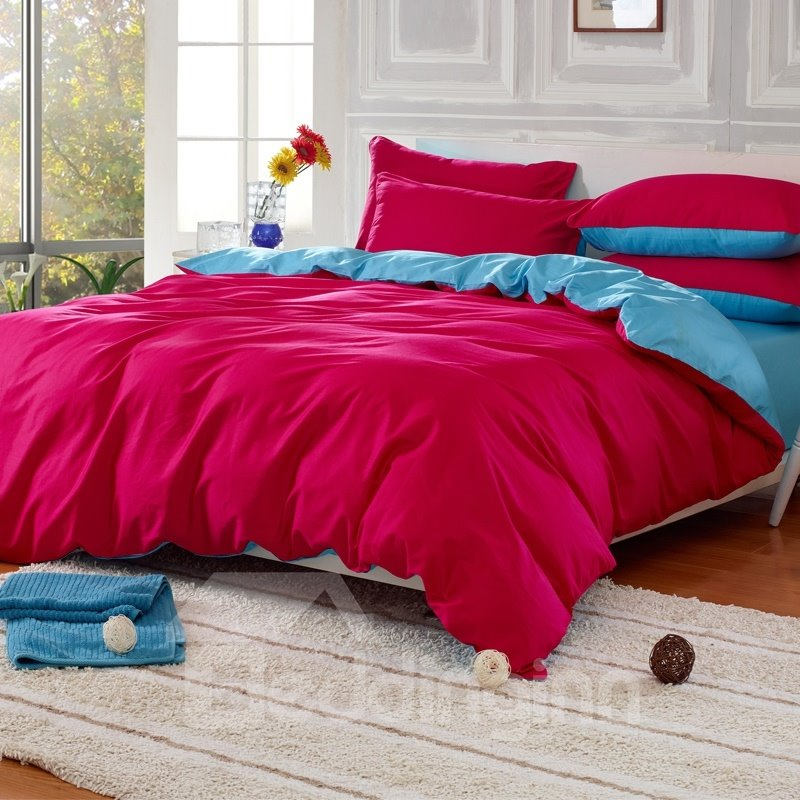 Solid Red and Light Blue Color Blocking Cotton 4-Piece Bedding Sets/Duvet Cover