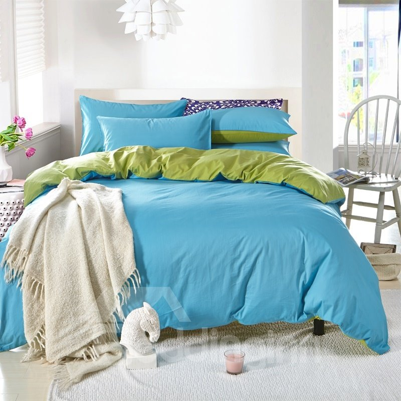 Solid Light Blue and Green Color Blocking Cotton 4-Piece Bedding Sets/Duvet Cover