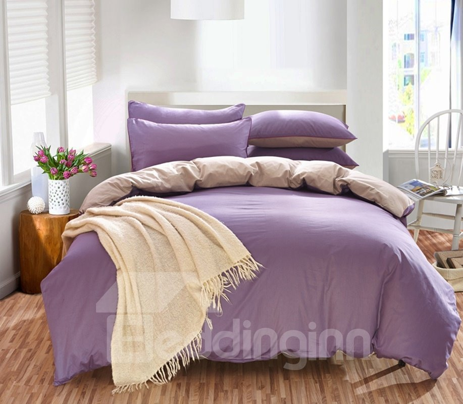 Solid Lavender and Beige Color Blocking Cotton 4-Piece Bedding Sets/Duvet Cover