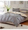Solid Sliver Gray and Beige Color Blocking Cotton 4-Piece Bedding Sets/Duvet Cover