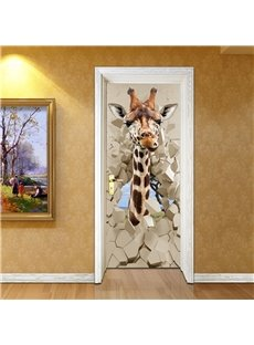 30×79in Giraffe and Stone Door Pattern PVC Environmental and Waterproof 3D Door Mural