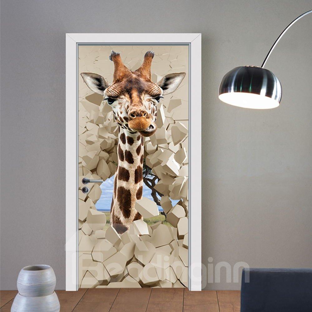 30×79in Giraffe and Stone Door Pattern PVC Environmental and Waterproof 3D Door Mural