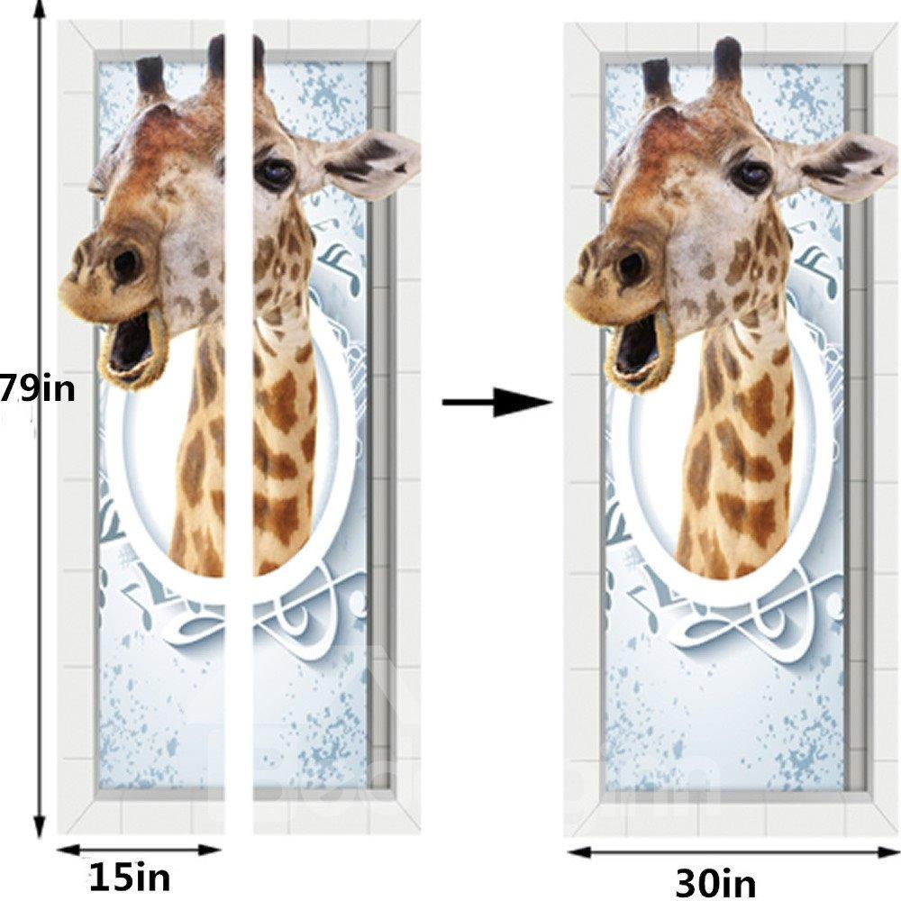 30×79in Giraffe PVC Durable Environmental and Waterproof 3D Door Mural