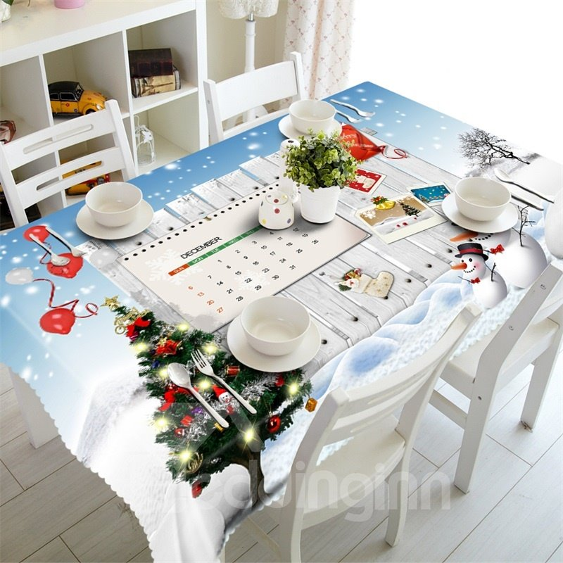 3D Elf Advent Printed Thick Polyester Home and Hotel Table Runner Cloth Cover