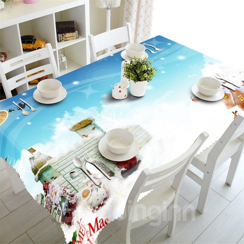 3D Castle in Air Printed Thick Polyester Fantastic Scenery Table Runner Cloth Cover