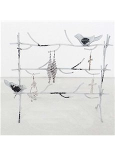 11*4*9in Birds on Tree Pattern Country Style 1 Piece Jewelry Rack