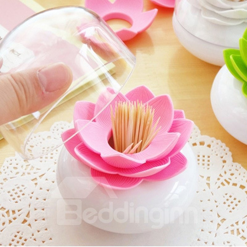 Beautiful and Vivid Lotus Economic Toothpick or Cotton Swab Box Desktop Decoration