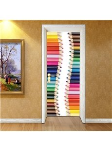 30×79in Colorful Pencils Pattern PVC Environmental and Waterproof 3D Door Mural