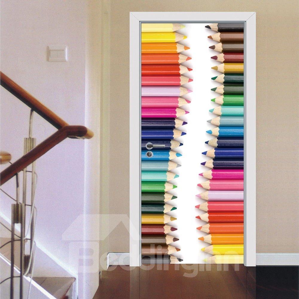 30×79in Colorful Pencils Pattern PVC Environmental and Waterproof 3D Door Mural