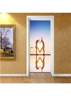 30×79in Dancing Couple on Sea PVC Environmental and Waterproof 3D Door Mural