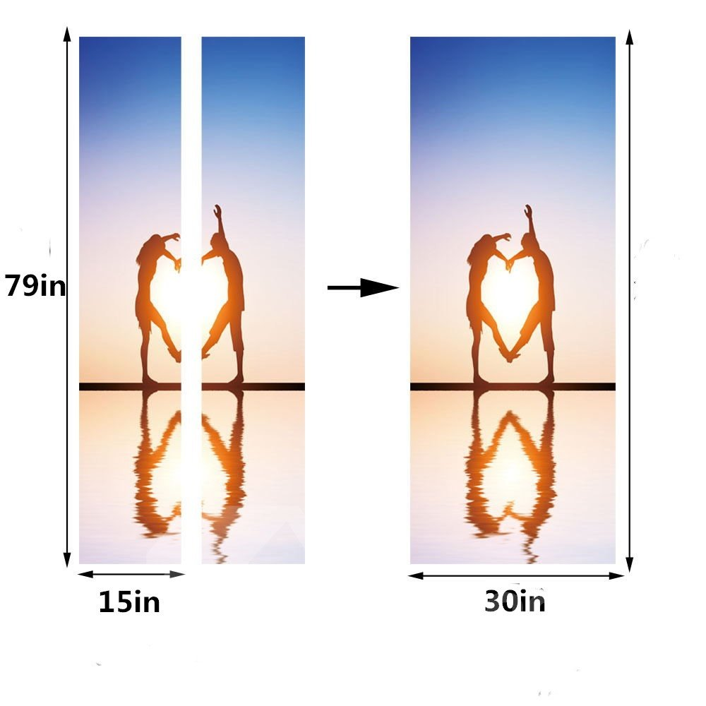30×79in Dancing Couple on Sea PVC Environmental and Waterproof 3D Door Mural