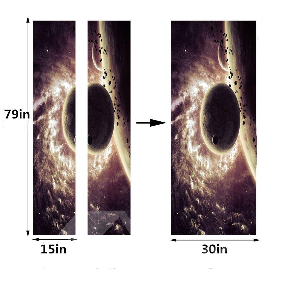 30×79in Planet in Universe Pattern PVC Environmental and Waterproof 3D Door Mural