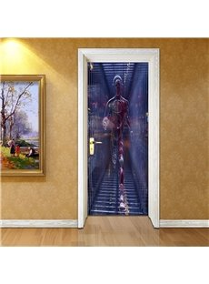 30×79in Walking Robot PVC Environmental and Waterproof 3D Door Mural