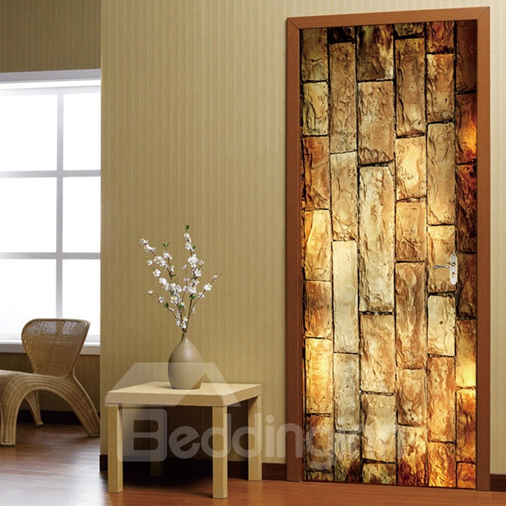 30×79in Yellow Bricks Pattern PVC Environmental and Waterproof 3D Door Mural