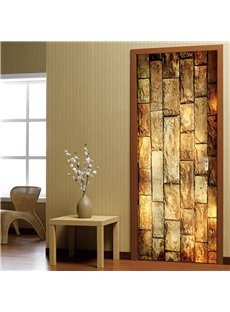30×79in Yellow Bricks Pattern PVC Environmental and Waterproof 3D Door Mural