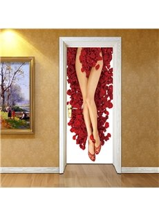 30×79in Red Petals and Sexy Legs PVC Environmental and Waterproof 3D Door Mural