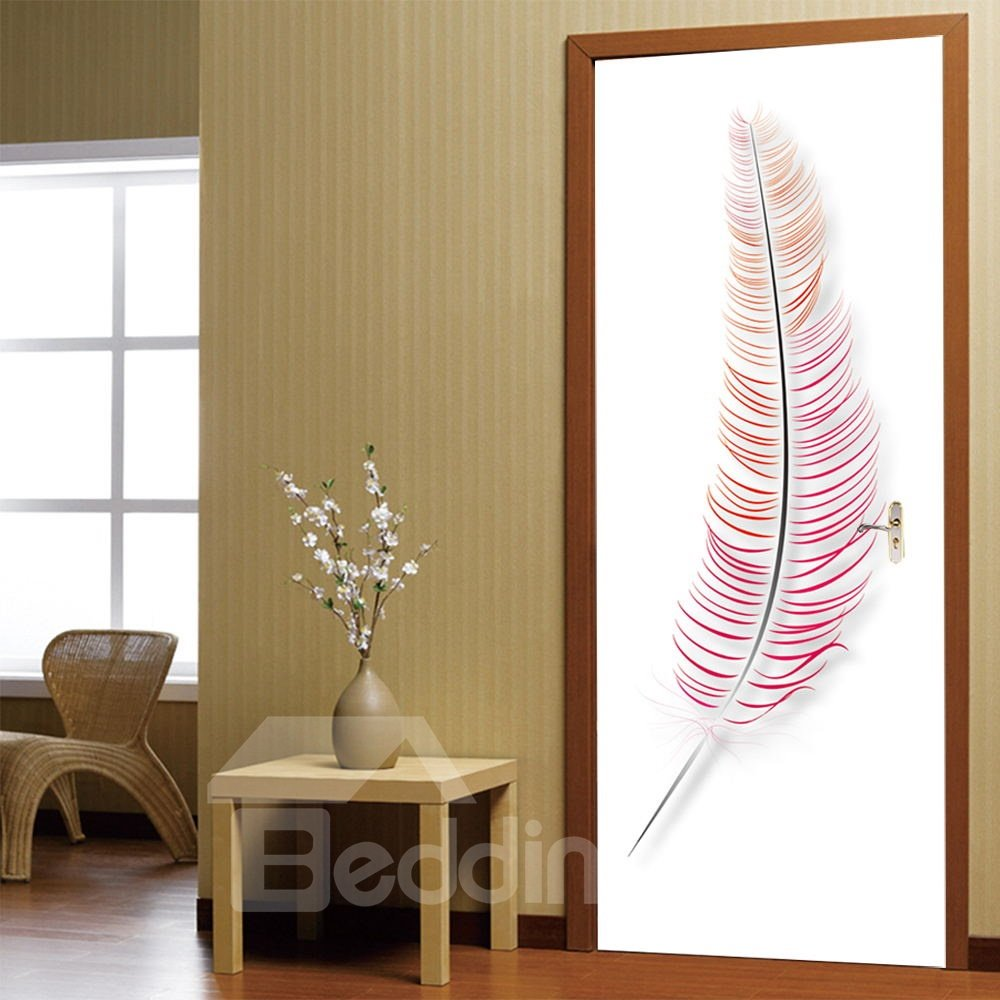 30×79in Red Feather Pattern PVC Environmental and Waterproof 3D Door Mural