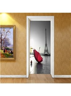 30×79in Red Umbrella and Grey Tower PVC Environmental and Waterproof 3D Door Mural