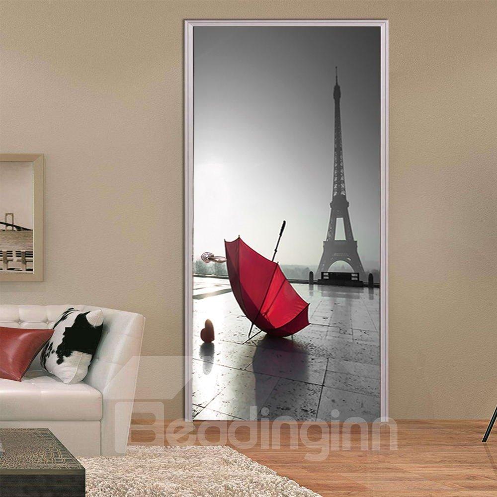 30×79in Red Umbrella and Grey Tower PVC Environmental and Waterproof 3D Door Mural