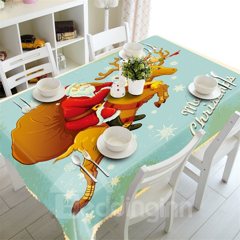 3D Santa Claus and His reindeer Printed Modern Style Table Runner Cloth Cover