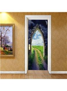 30×79in Green Field and Star Sky PVC Environmental and Waterproof 3D Door Mural