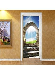 30×79in Blue Sky and Stone Door Pattern PVC Eco-friendly Waterproof 3D Door Mural