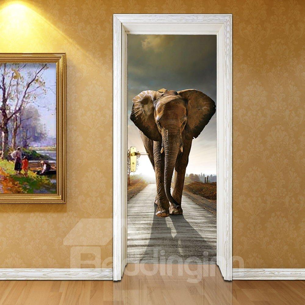30×79in Brown Elephant PVC Environmental and Waterproof 3D Door Mural