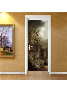 30×79in Brown Castle Pattern Glorious Style PVC Environmental and Waterproof 3D Door Mura