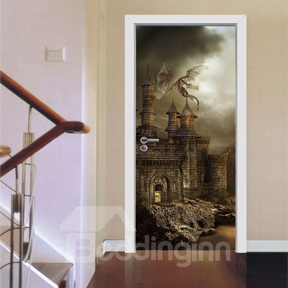 30×79in Brown Castle Pattern Glorious Style PVC Environmental and Waterproof 3D Door Mura