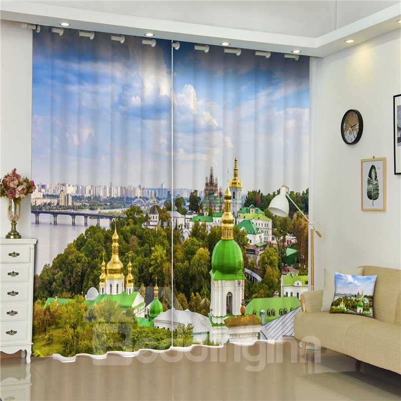 3D Glorious Palace Printed Thai Style Thick Cotton Exotic Style 2 Panels Shading Curtain