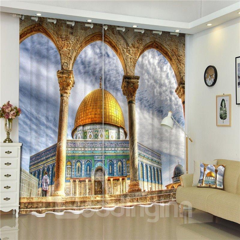 3D Grand Stone Pillars Printed Russian Buildings Retro Style Creative and Decorative Curtain