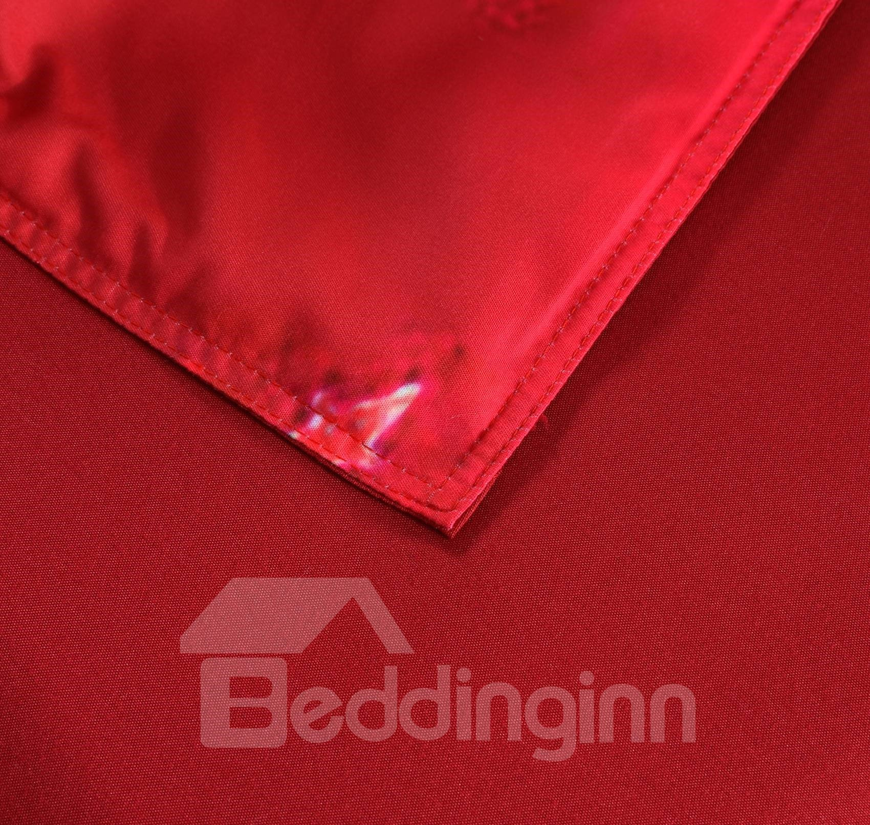 Vivilinen Santa and Christmas Decorations Printed 3D 4-Piece Red Bedding Sets/Duvet Covers