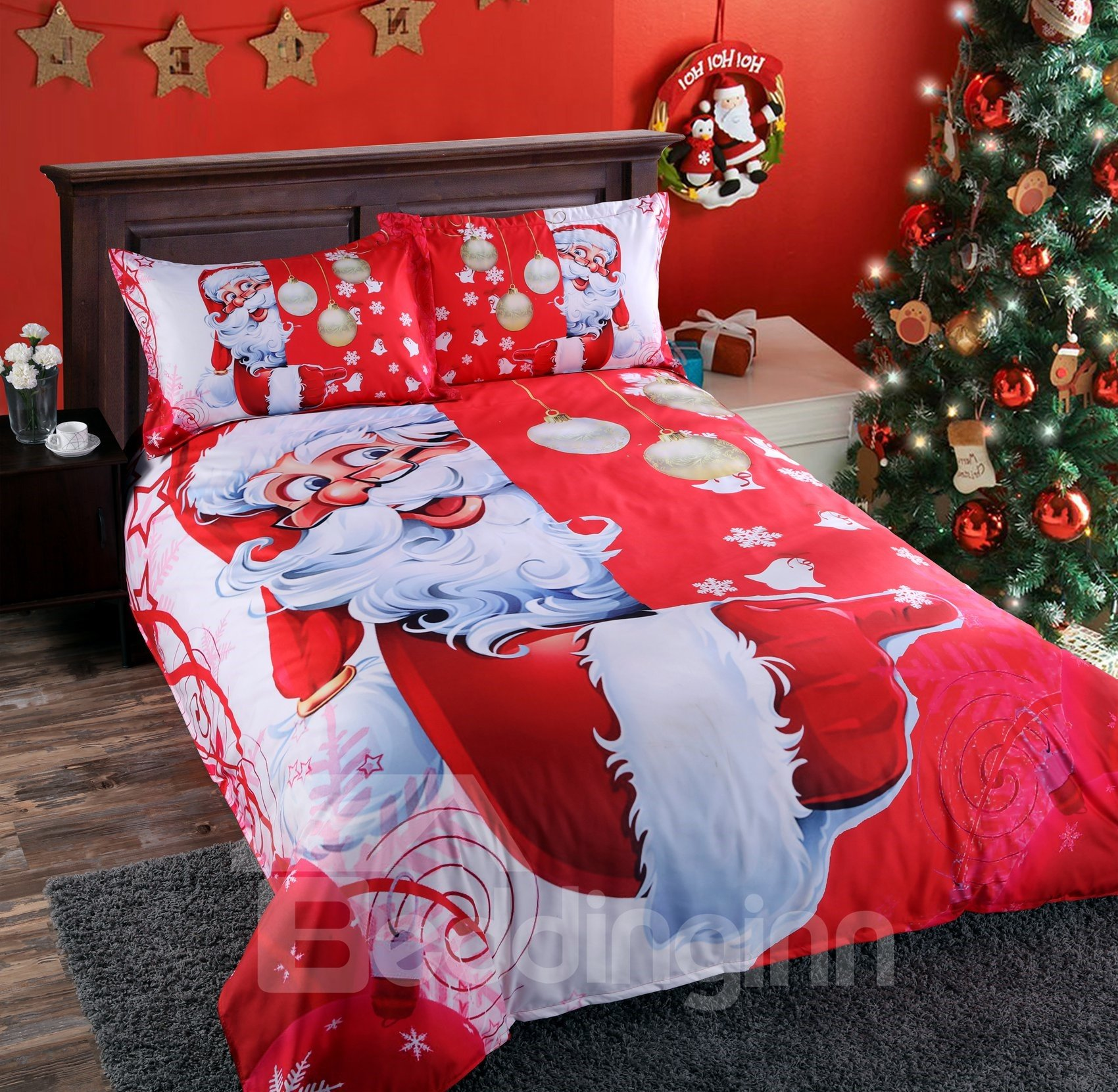 Onlwe 3D Santa and Christmas Decorations Printed 4-Piece Red Bedding Sets/Duvet Covers