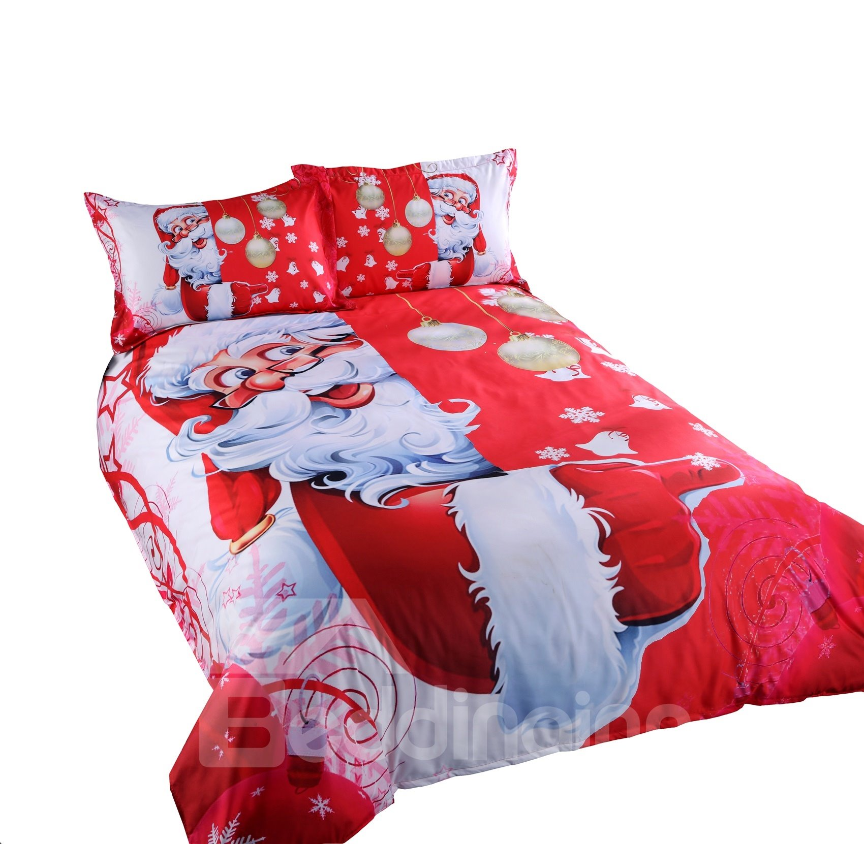 3D Santa and Christmas Decorations Printed Cotton 4-Piece Red Bedding Sets/Duvet Covers