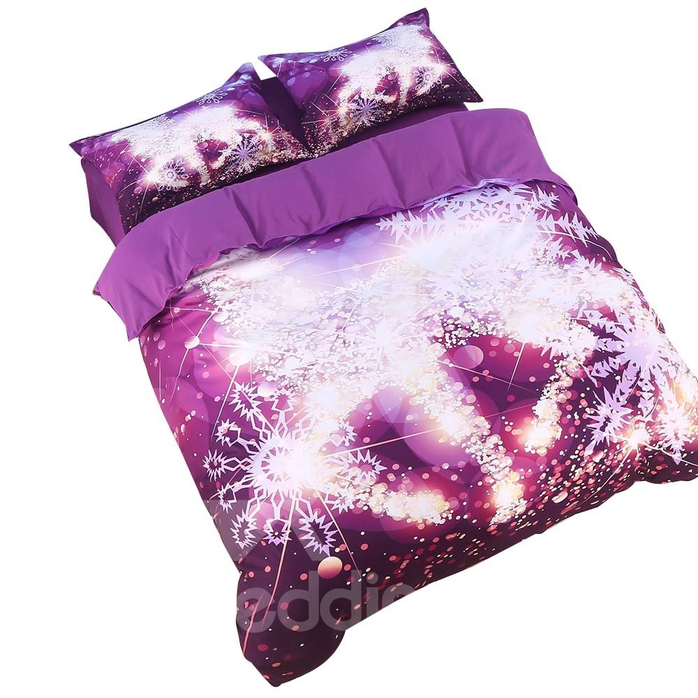 Onlwe 3D Golden Reindeer and Snowflake Printed Cotton 4-Piece Bedding Sets/Duvet Covers