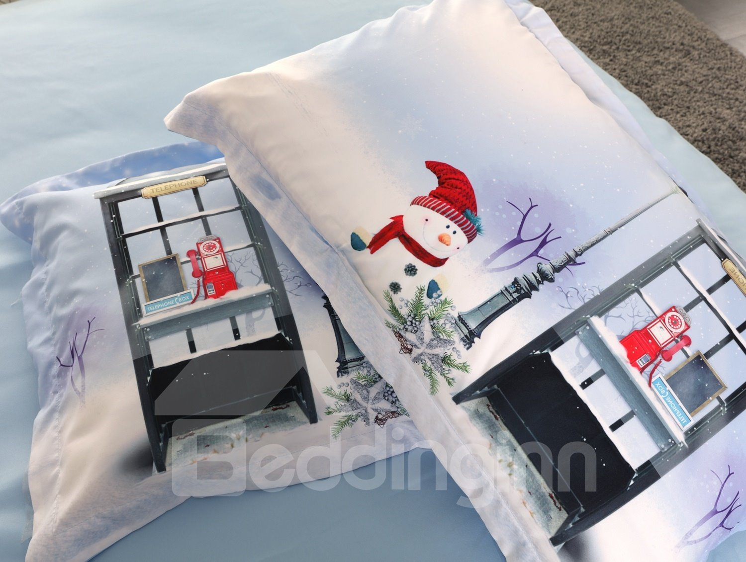 Vivilinen Christmas Snowman and Telephone Booth Printed 3D 4-Piece Bedding Sets/Duvet Covers