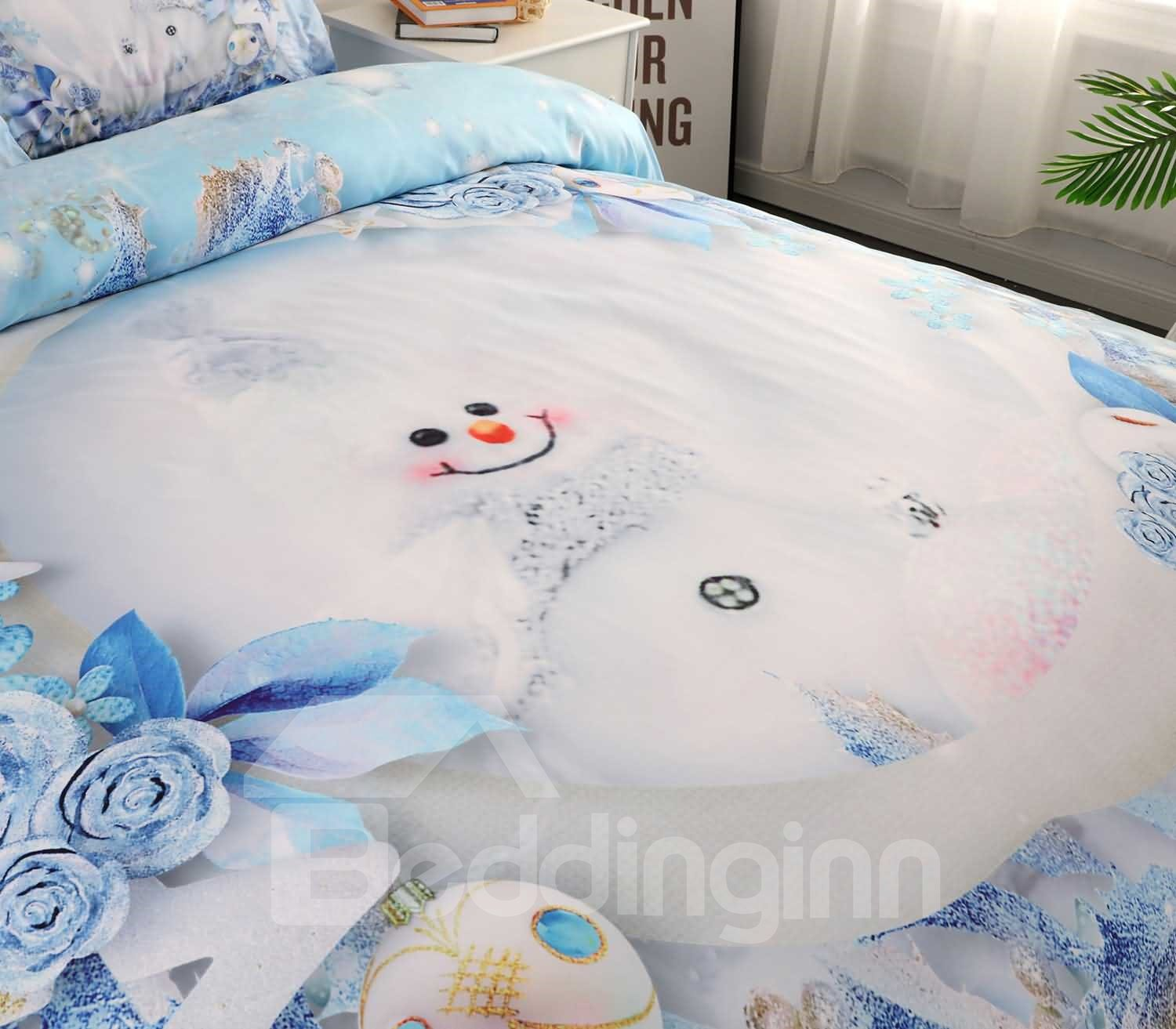 3D Snowman and Christmas Ornaments Printed Cotton 4-Piece Bedding Sets/Duvet Covers
