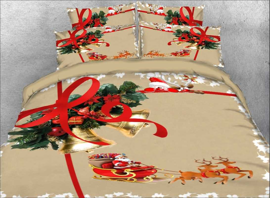 Onlwe 3D Christmas Bell and Santa Claus Printed 4-Piece Bedding Sets/Duvet Covers