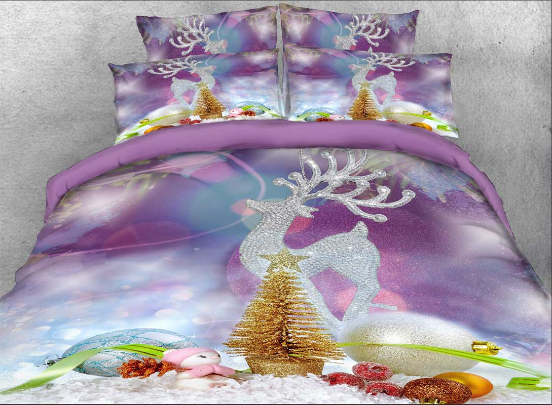 Onlwe 3D Christmas Ornaments and Reindeer Printed Cotton 4-Piece Bedding Sets/Duvet Covers