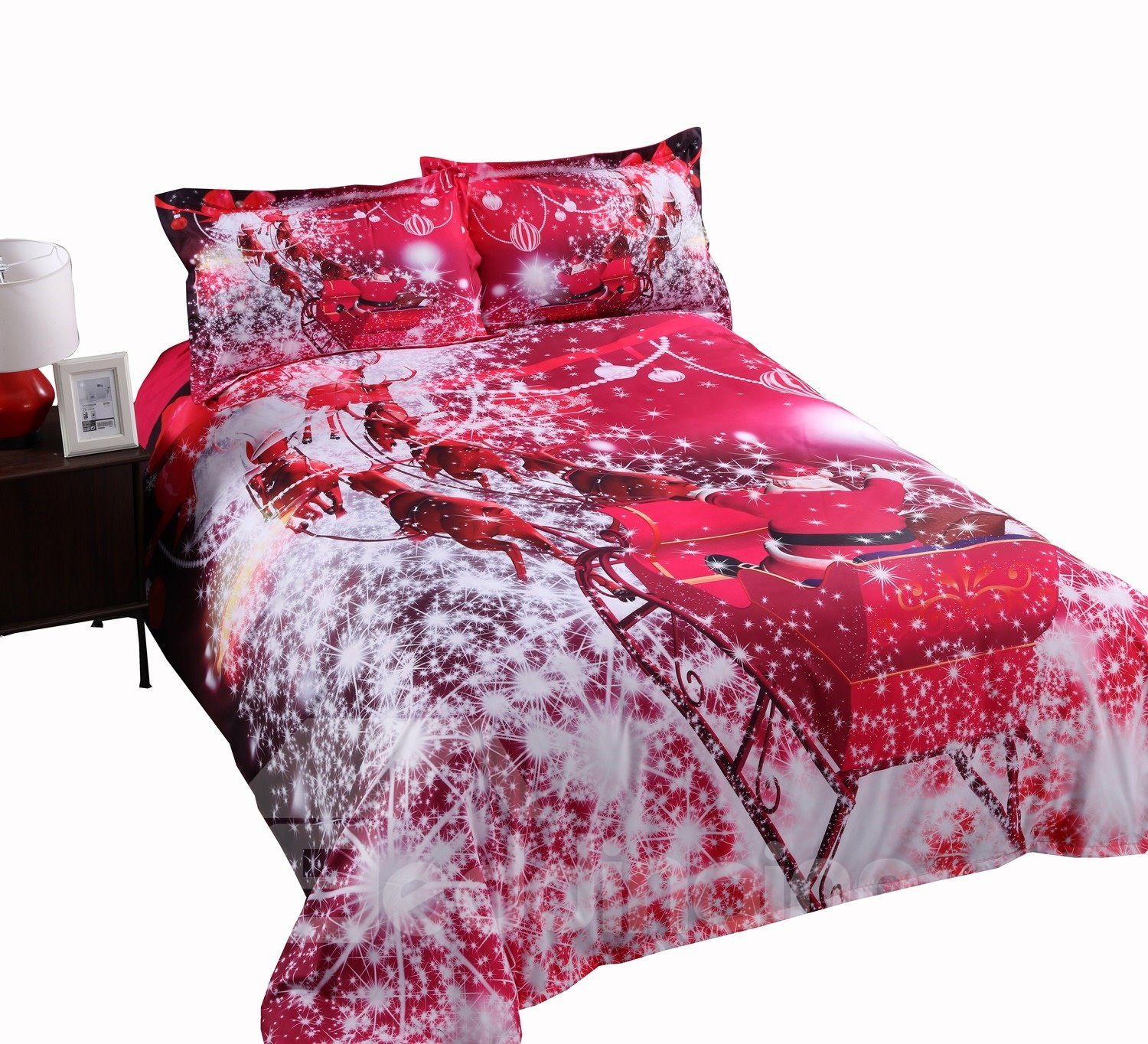 3D Santa Claus Riding Sleigh Printed Cotton 4-Piece Red Bedding Sets/Duvet Covers