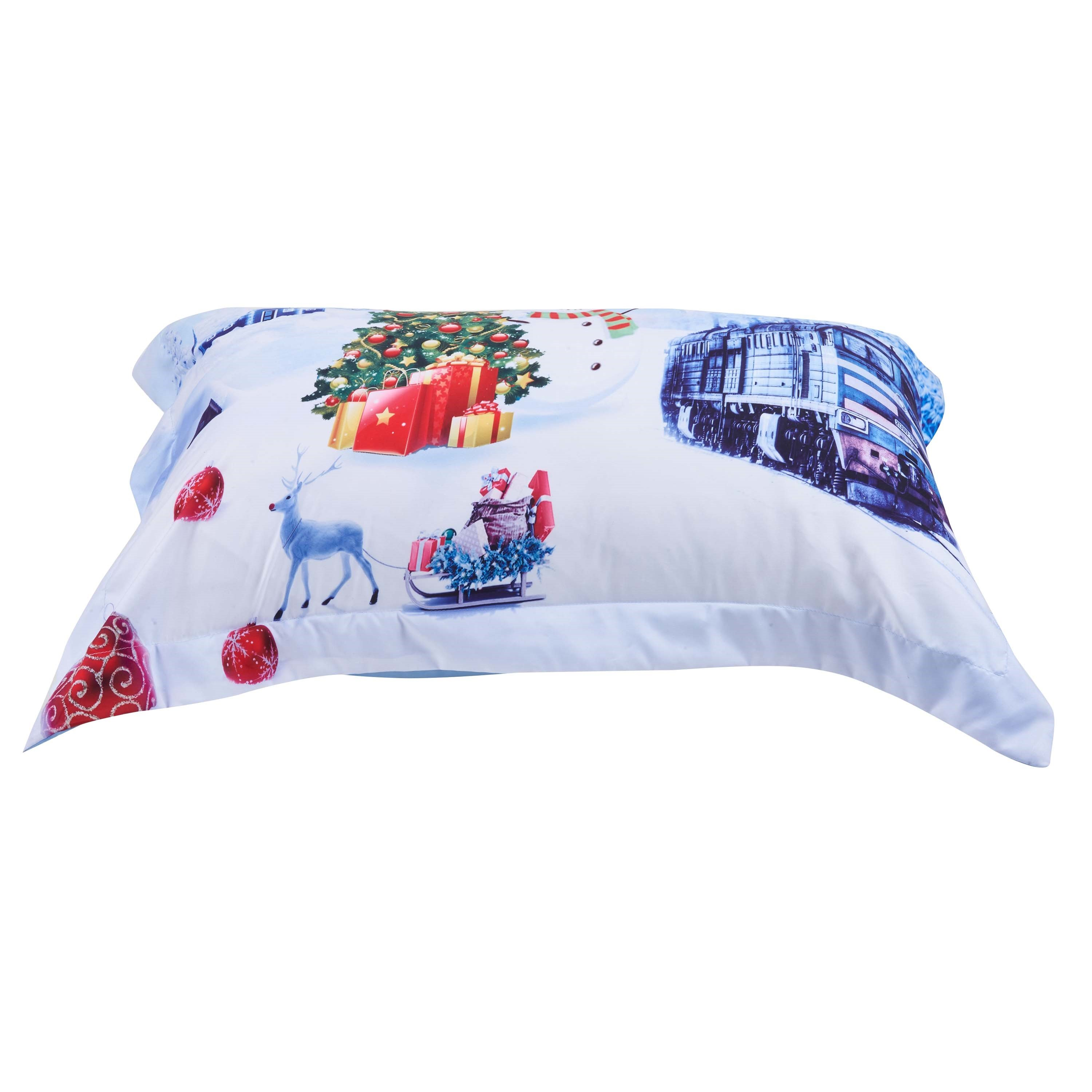 Christmas Snowman and Train Printed Cotton 3D 4-Piece Bedding Sets/Duvet Covers