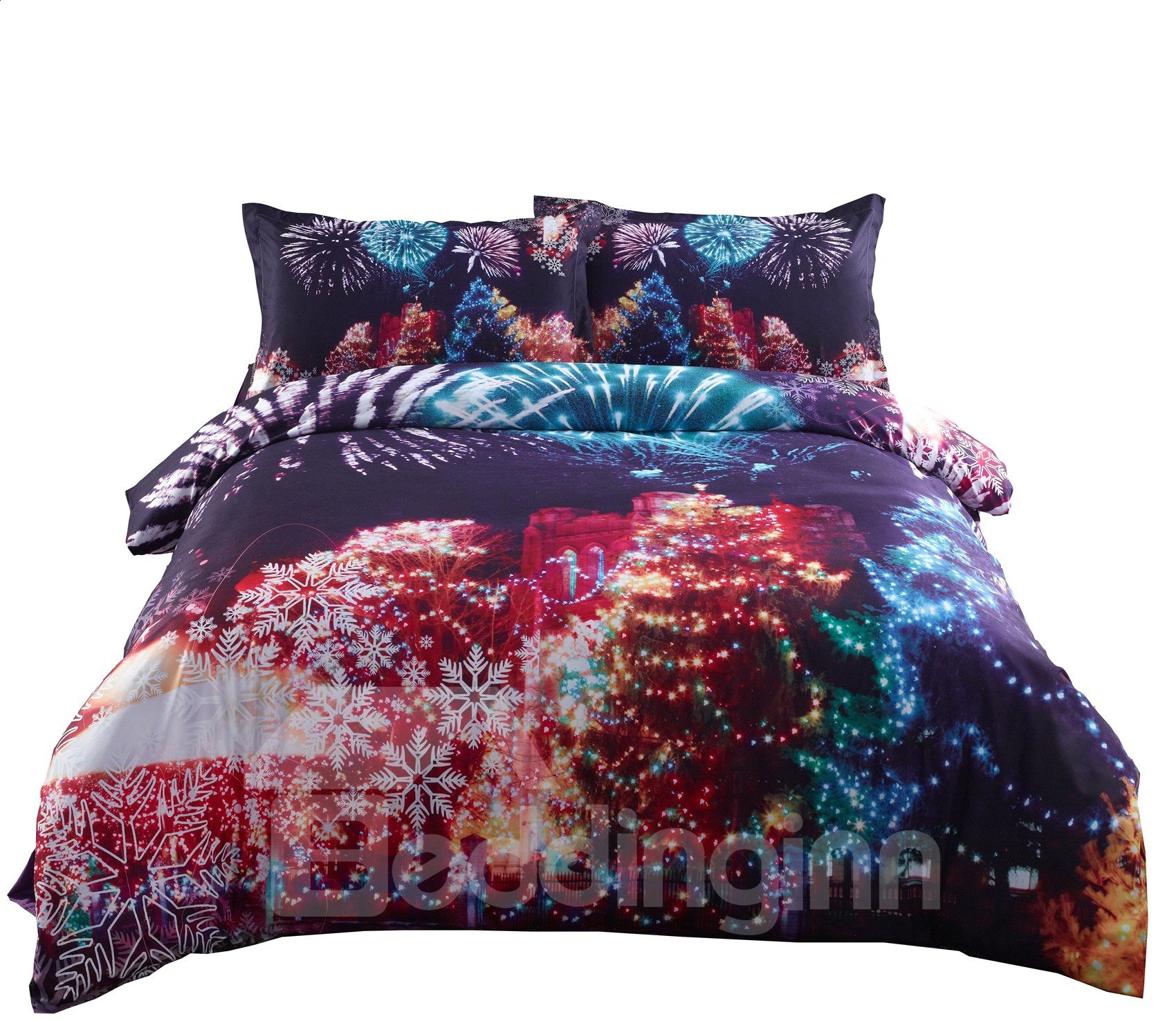 Onlwe 3D Christmas Trees and Fireworks Printed Cotton 4-Piece Bedding Sets/Duvet Covers