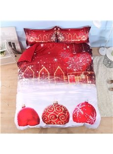 Red_Christmas_Ball_Ornaments_3D_Printed_4Piece_Polyester_Bedding_SetsDuvet_Covers