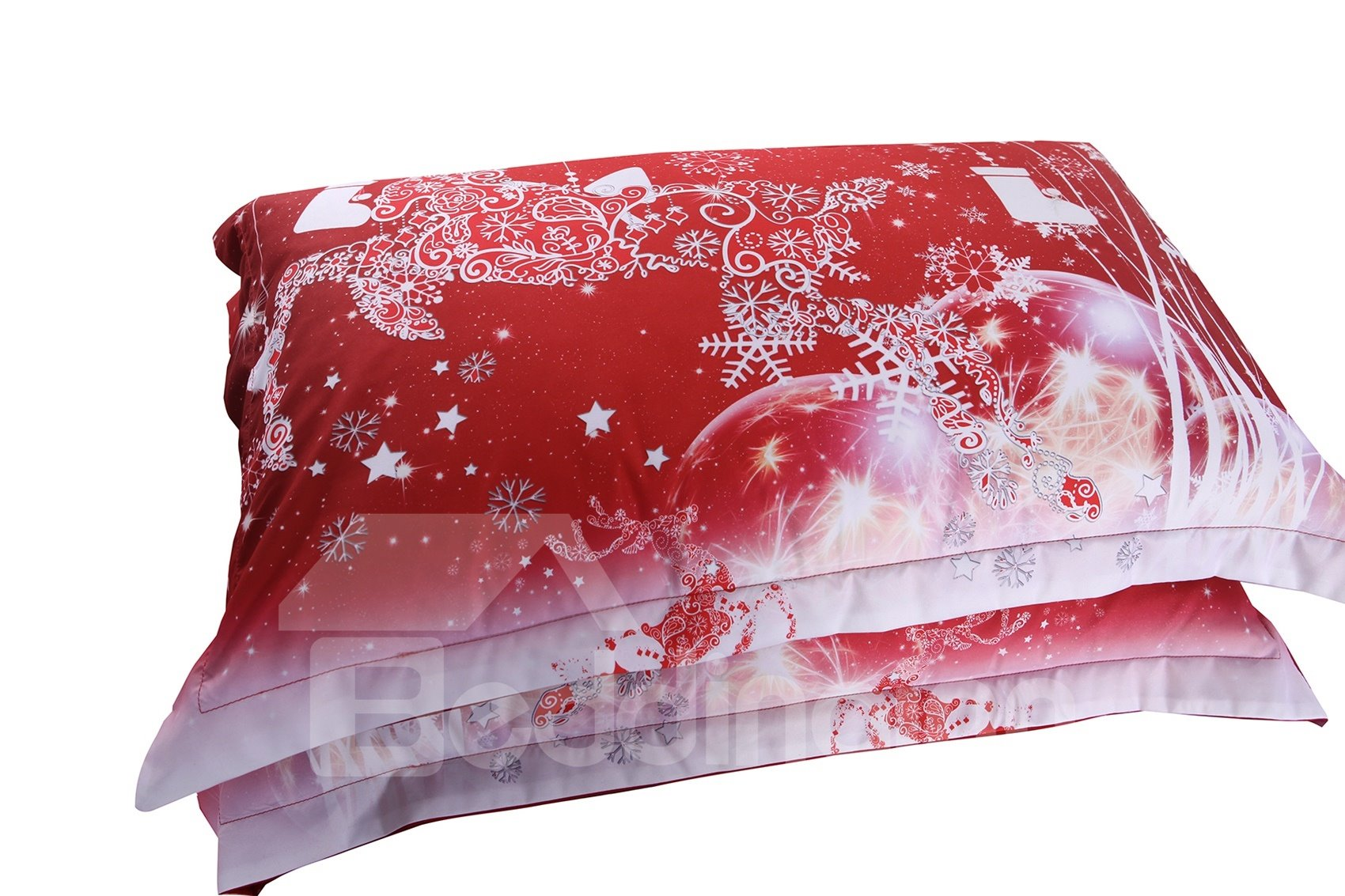 Vivilinen Christmas Reindeer and Snowflake Printed Cotton 3D 4-Piece Red Bedding Sets/Duvet Covers