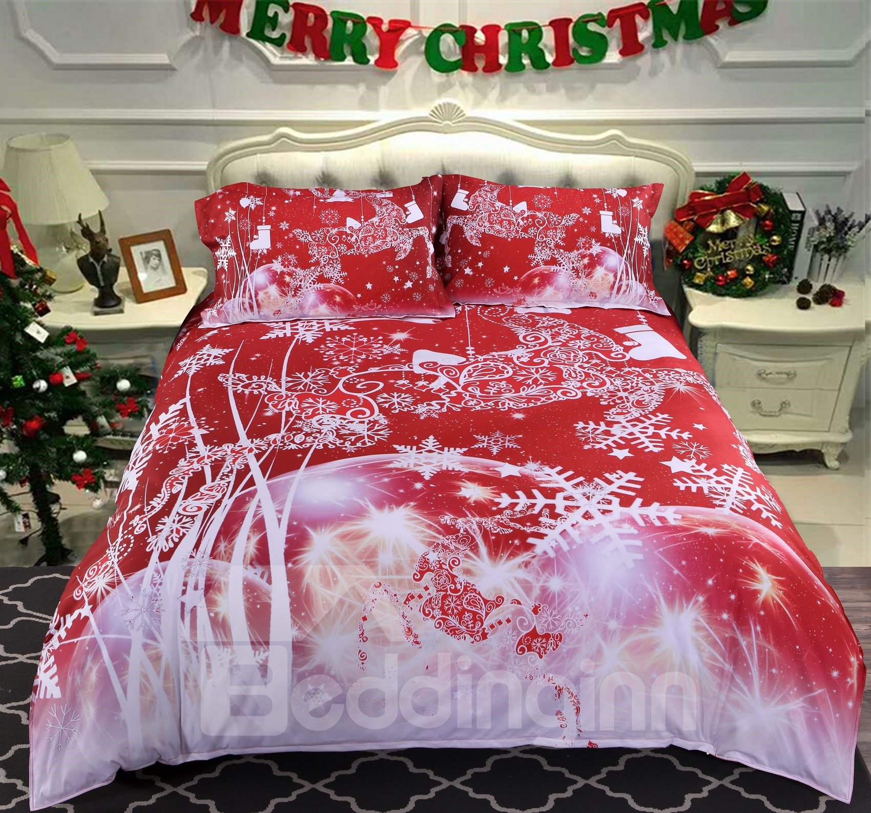 Onlwe 3D Christmas Reindeer and Snowflake Printed Cotton 4-Piece Red Bedding Sets