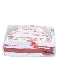 Onlwe 3D Santa Claus and Snowman Printed Cotton 4-Piece White Bedding Sets
