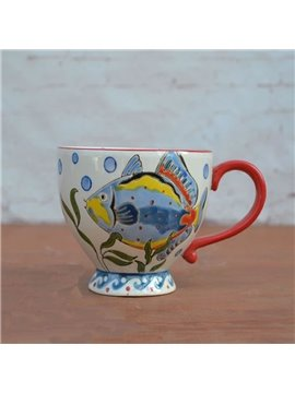 Colored Ceramic Cup Pastoral Style White Fish European Porcelain Coffee Mugs