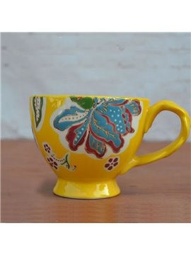 Colored Ceramic Cup Pastoral Style Yellow European Porcelain Coffee Cups